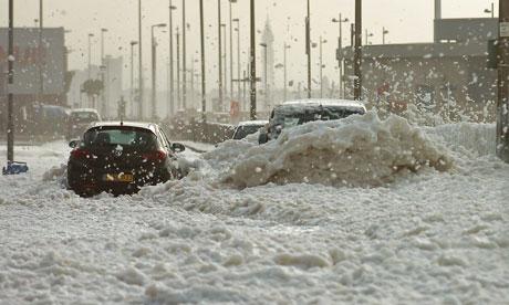 Mystery Foam Engulfs Seaside Town In Northwest England