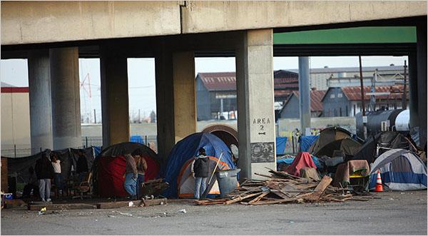 America's homeless resort to tent cities