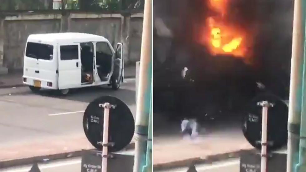 Van detonates near Colombo church as bomb squad reportedly